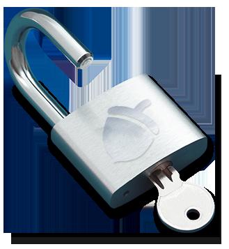 Open padlock and key